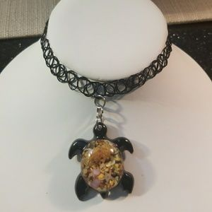 Black simulated Tattoo Turtle choker